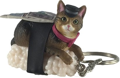 Sushi Cat Clever Idiots Nekozushi Keychain - Blind Box Includes 1 of 5 Collectable Figurines - Authentic Japanese Design Collectable Figurines - (Version 2)