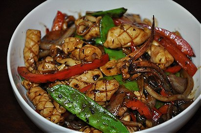 Squid with Chilli and Black Bean Sauce