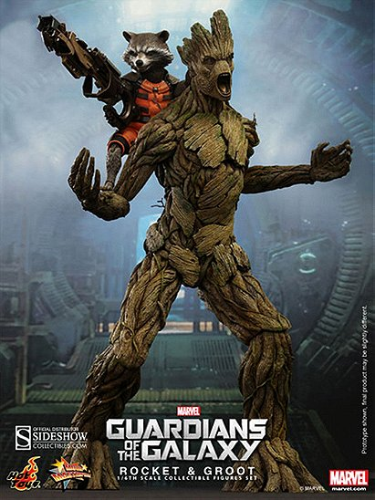 Hot Toys Marvel Guardians of The Galaxy Rocket Raccoon & Groot 1/6 Scale Figure Set